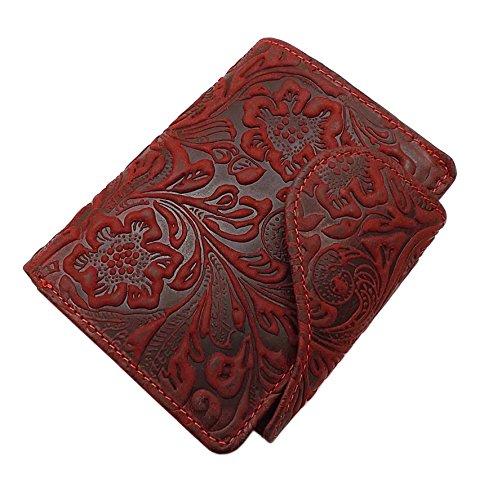 Cartera de Piel para Dama con Bloqueo RFID y NFC (Rojo Cereza)