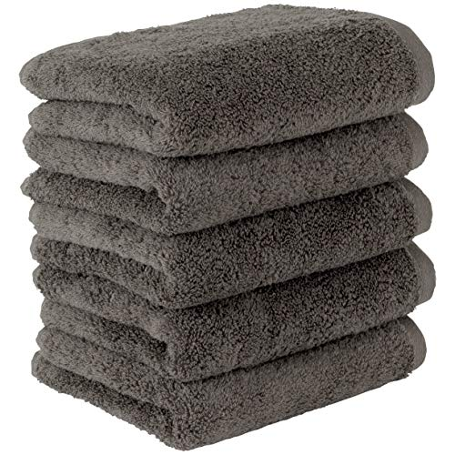 Towel Laboratory [Volume Rich] #003 Face Towels, Charcoal Gray, 5 Piece Set, Fluffy, Hotel Specifications, Fast Absorption, Durable, Popular, Fuzz-less, 5 Colors to Choose from Japan Technology