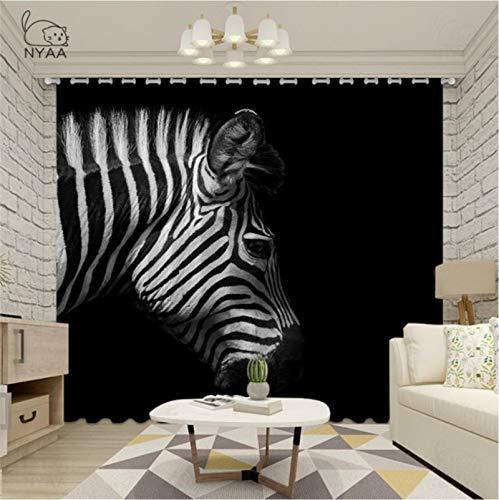 Cortinas Opacas - Impresión 3D Cebra Blanca Negra - Cortinas con Ojales - Reducción De Ruido De Aislamiento,250(H) x140(An) Cmx2 Paneles/Set