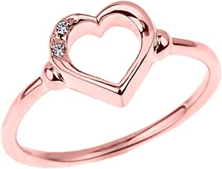 Fine 14k Rose Gold Dainty Band 2-Stone Diamond Open Heart Ring