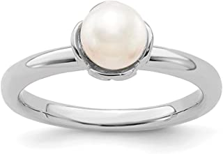 Sterling Silver Solitaire White Pearl Ring