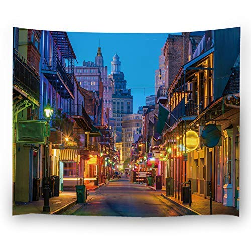 ABLINK Wall Decor Tapestries,Pubs and Bars with Neon Lights in The French Quarter New Orleans USA,Bedroom Living Room Dorm Wall Hanging Tapestry 80x60(in)