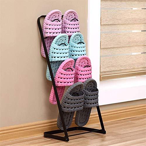 BHBXZZDB Zapatillas Marco Blanco y Negro Marrón 3 Colores Gabinete de Zapatos de Piso Simple pequeña Mini Sala de Estar Baño Gabinete de Zapatos de Hierro Forjado Oblicuo (tamaño: 60 * 25 * 21