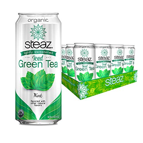 Steaz Organic Lightly Sweetened Iced Green Tea with Mint, 16 FL OZ (Pack of 12)