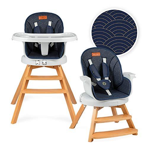 MOMI WOODI Chaise haute 3 en 1 pour bébés et enfants de 6 à 36 mois (max. 15 kg de poids corporel   83x60, x104 cm 11,3 kg   ceinture de sécurité à 5 points, chaise haute pour bébé 360°   Navy Blue