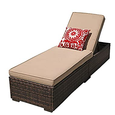 PATIOROMA Outdoor Patio Chaise Lounge Chair, Adjustable Pool Rattan Chaise Lounge Chair with Cushion, Espresso Brown PE Wicker,Steel Frame