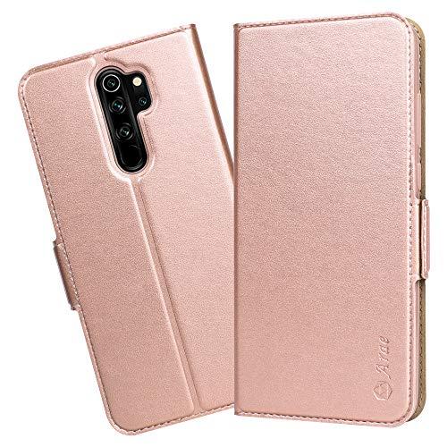 Arae Handyhülle Xiaomi Redmi Note 8 Pro hülle Tasche Leder Flip Cover Brieftasche Etui Schutzhülle für Xiaomi Redmi Note 8 Pro - Roségold