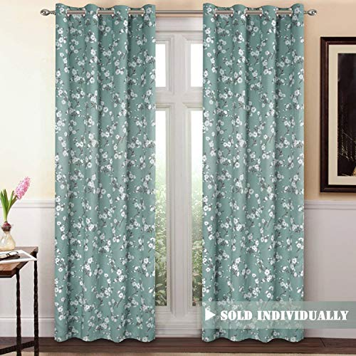 H.VERSAILTEX Blackout Window Curtain Panel Grommet Top Drapes 1 Panel Set Room Darkening Thermal Insulated Blackout Curtain for Bedroom/Living Room (W52 x L84, Country Aqua Floral)