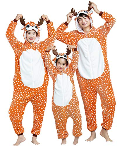 Deer Adult Onesie Christmas Adult Family Matching Pajamas for Women Men Boys and Girls Adult Reindeer M (Height:5'2''-5'6''/158cm-167cm)