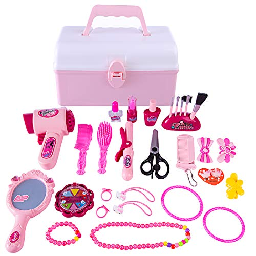 YVSoo 31Pcs Maletín Maquillaje Niñas, Maquillaje Peluqueria Juguete Set de Cosmética y Joyería Juego para Infantil Niños