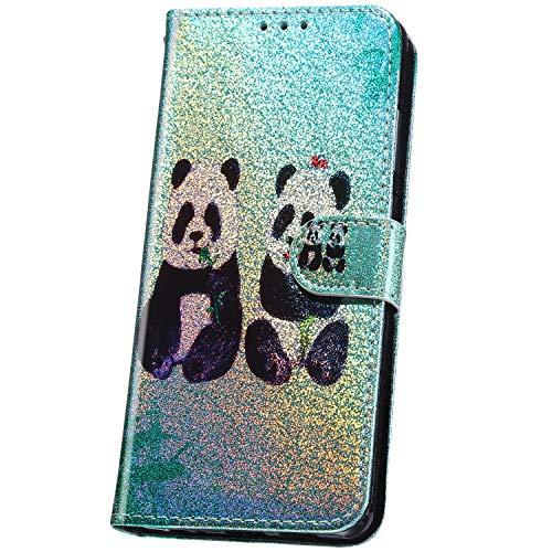 JAWSEU Funda Compatible con ASUS ZenFone 6 ZS630KL, Brillante Glitter Diseño Carcasa PU Cuero Suave Libro Flip Billetera Tapa Cartera Case Cierre Magnético Ranura para Tarjetas Completa Cubierta,Panda