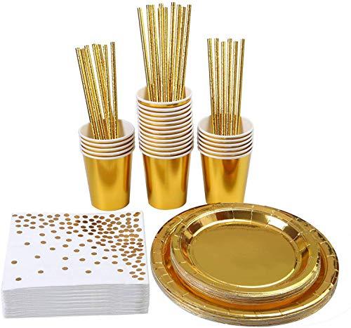 VAINECHAY 146pcs Partygeschirr Geburtstag Mädchen Gold Party Einweggeschirr Teller Hochzeit Papier Geschirr Pappbecher Weiss Serviette Stroh Cocktailhalme Strohhalme, 24 Gäste