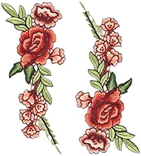 TENNER.LONDON Set of 2 Large Flowers Embroidery Patch Iron on or Sew on Embroidered Motif Rose Transfer Flower Bloom Applique