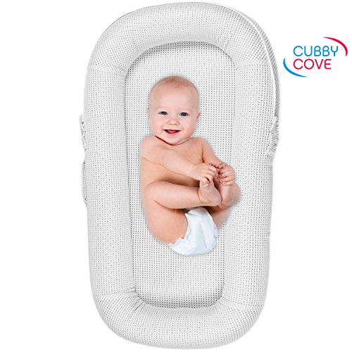CubbyCove Classic –The Truly Breathable Baby Lounger– Portable Nest for Cosleeping, Tummy Time and Playing. Super Soft and Includes Canopy (White)