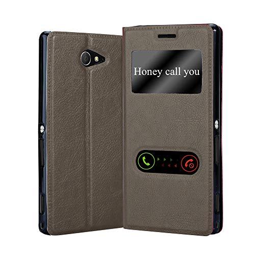 Cadorabo Hülle für Sony Xperia M2 / M2 Aqua in Stein BRAUN – Handyhülle mit Magnetverschluss, Standfunktion & 2 Sichtfenstern – Hülle Cover Schutzhülle Etui Tasche Book Klapp Style