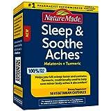 Nature Made Sleep & Soothe Aches, Naturally Acting Sleep Aid with Melatonin 5mg, Turmeric Curcumin with Black Pepper, 50 Capsules
