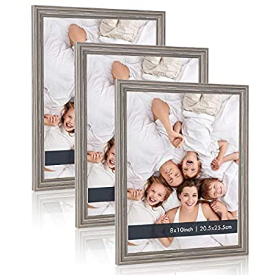8x10 Gray Picture Frames - (3 Pack) Distressed Wood Textured Basic Designed Photo Frame with High Definition Glass for Table Top Display and Wall Hanging, Set of 3