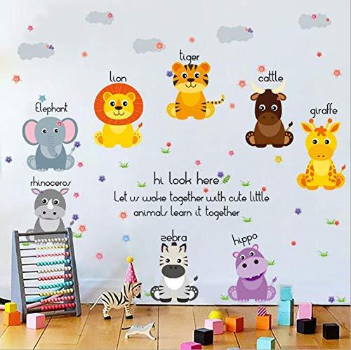 Animales De Dibujos Animados Letra León Tigre Pegatinas De Pared Diy Niños Calcomanías Murales Para Habitaciones De Niños Decoración De Puerta De Armario De Dormitorio De Bebé