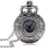 EURYTKS Kleine Größe Silber Zodiac Hollow Hunter Quarz Taschenuhr mit Pullover Halskette Kette Exquisite Anhänger Uhr Geschenke für Frauen