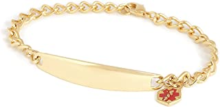 Ladies' Stainless Steel Medilog ID Bracelet Charm & Curb Chain – Gold Silver Tone