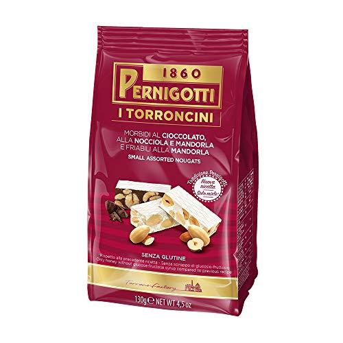 Pernigotti, Torroncini Assortiti, Torrone al Cioccolato, alla Nocciola e Mandorla, e alla Mandorla, con Miele, Senza Glucosio, Fruttosio e Glutine, 130 gr