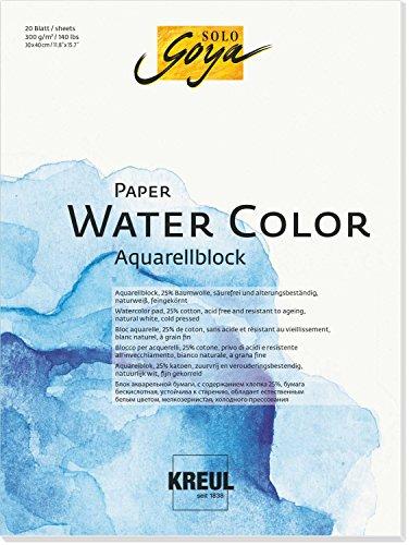 Kreul 68013 - Solo Goya Paper Water Color, Aquarellblock, ca. 30 x 40 cm, 300 g/qm, 20 Blatt, säurefrei und alterungsbeständig, naturweiß, für Malerei mit Aquarell- und Gouachefarben