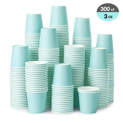 Einweg-Pappbecher, 85 ml, himmelblau, Mundspülbecher, Espressotassen, Pappbecher für Party, Picknick, Grillen, Reisen und Veranstaltungen, 300 Stück