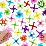 28-Pack Party Fidget Gyro Set,Mini Plastic Finger Gyro,Fidget Toys Spinner Party Pack By SephireREX (Random Styles and Colors)