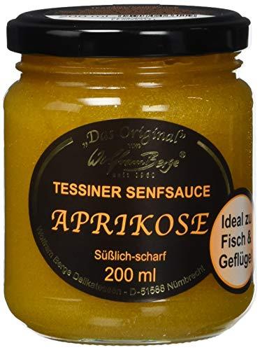 Wolfram Berge Original Tessiner Aprikosen-Senfsauce - Feinkostsauce aus pürierten kandierten Aprikosen mit fein-scharfem Senfgeschmack. Hergestellt im Schweizer Tessin. 3er Pack (3 x 200 ml)
