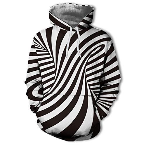Daysing Herren Unisex Kapuzenpullover Pullover Schwarz 3D Print Swirl Langarm Sweatshirt Slim Fit Paar Hoodie Zebra