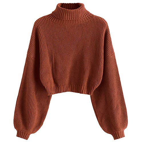 ZAFUL Damen Rollkragenpullover, Kurzer Pullover, Langarm Jumper Sweater (Kastanienrot, L)