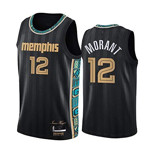 LITBIT Baloncesto para Hombre NBA Jersey GRIBRYLIES 12# JA MORANT Nuevo 2021 Top DE SECURIDAD DE SECUDACIÓN RÁPIDA ROMPLETLEVIBLE para Deportes,Negro,XL