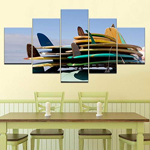 LWJPD Cuadro en Lienzo 5 Partes Tabla De Surf En El Coche HD Impresión Arte De La Pared Moderno Cartel Modular Arte Sala De Estar Decoración del Hogar Lienzo Pintura Sin Marco 20 Inch