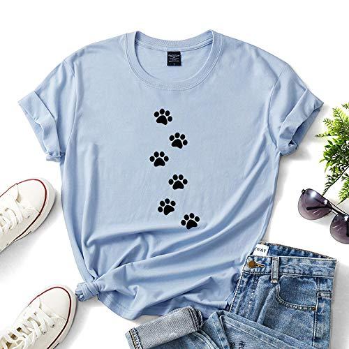 XUJIN Huellas de Perro Impreso en 3D Señoras de Manga Corta Cuello Redondo Camiseta Tops Soporta Patrones Personalizados,Blue,L