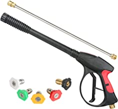 Sooprinse High Pressure Washer Gun Power Spray Gun 4000psi with 19 inch Extension Replacement Wand Lance,5 Quick Connect N...