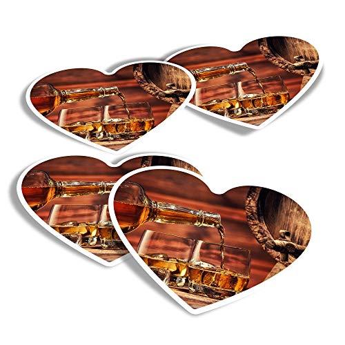 Pegatinas de vinilo con forma de corazón (juego de 4) – Vasos de whisky barril Whisky Fun Calcomanías para portátiles, tabletas, equipaje, reserva de chatarra, frigoríficos #15687