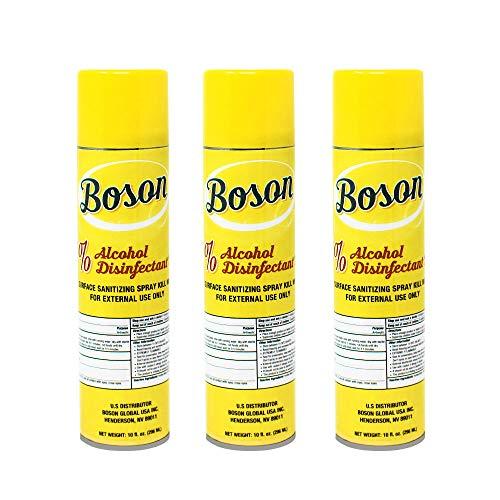 Boson Disenfectant Spray Arisol Can [Made in USA] 75% Alchol Alchohol Kills 99.9%, 3 Bottles