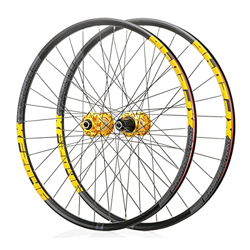LSRRYD Doppelwandig Fahrrad Laufradsatz für 26 27,5 29 Zoll MTB-Felge Scheibenbremse Schnelle Veröffentlichung Mountainbike-Räder 24H 8 9 10 11 Geschwindigkeit (Color : Gold, Size : 29inch)