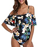 Bañador Bandeau Vientre Plano Una Pieza Traje de Baño Mujer Bañadores Playa Natacion Mujer con Volantes Bikinis de Flores con Relleno Monokini Bikini Push Up Señora Trajes de Baño Enteros Blanco L