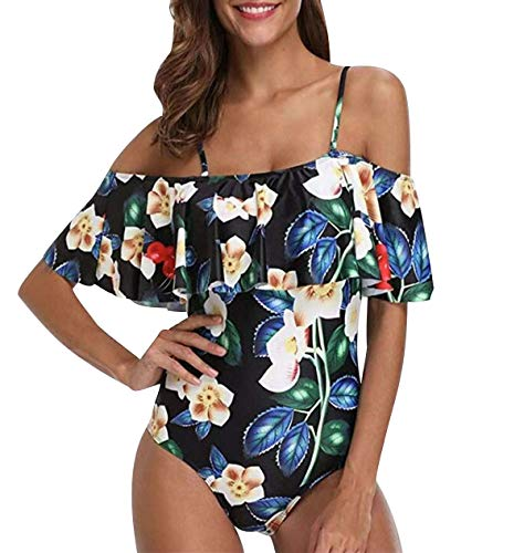 Bañador Bandeau Vientre Plano Una Pieza Traje de Baño Mujer Bañadores Playa Natacion Mujer con Volantes Bikinis de Flores con Relleno Monokini Bikini Push Up Señora Trajes de Baño Enteros Blanco M