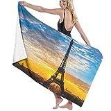 Ultra Suave Toallas Baño Manta Secado rápido Amanecer Vista de la Torre Eiffel Ciudad Capital Monumento Famoso Destino de Viaje Toalla Playa Sábana de Viaje Camping Deportes Personalizados