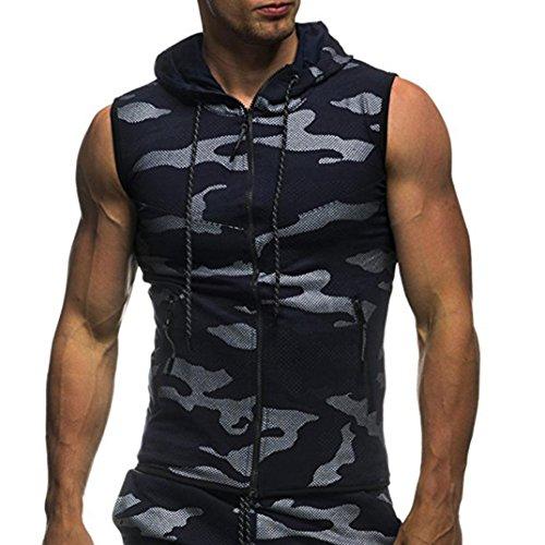 Tefamore T-Shirt Top Vest Blouse Homme été Casual Camouflage Imprimer Capuche sans Manches (M, Marine)