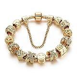 CHOKER Charm Bracelets for Women Gold Plated Snake Chain Heart Shape Smile Rhinestone Beads Charming Girls Mom Gift