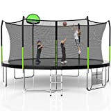 SKOK Trampoline 5FT 8FT 10FT 14FT 15FT Jump Recreational Trampoline with Enclosure Net,Outdoor Trampoline for Kids and Adults,Combo Bounce Jump Trampoline with Spring Pad Waterproof Jump Mat & Ladder