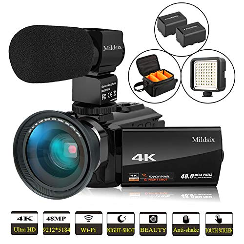 Video Camera 4K Camcorder WiFi Digital Camera Full HD 60FPS YouTube Vlogging Camera 3.0 inch Touch Screen IR Night Vision External Microphone Wide Angle Lens and LED Video Light with 2 Batteries
