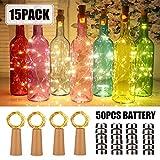 15 Stück LED Flaschenlicht with 50pack Batterry, 20 LEDs 2M Kupferdraht Weinflasche Lichter, mit...