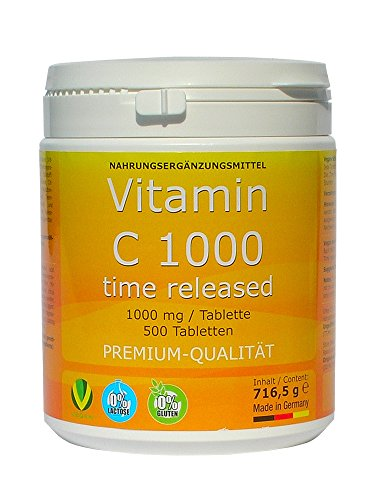Vitamin C 1000mg + Bioflavonoide TIME RELEASED 500 Tabletten Made in Germany Vegan