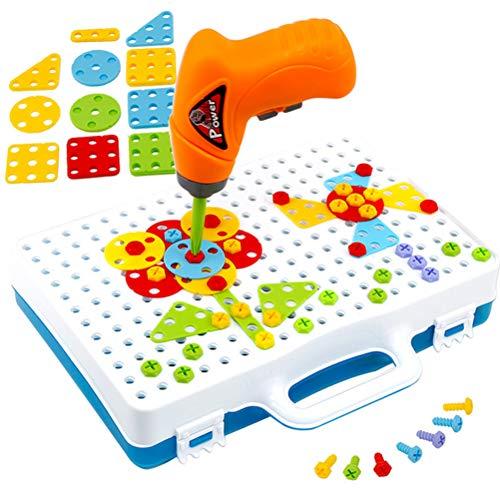 Taladro Diseño Puzzle Juguetes Creativos, Taladro Eléctrico Destornillador Edificio 2D Modelos 3D Bloques Conjunto de Conjunto Pegboard Juguete Juguetes Educativos para Niños Niños