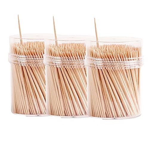 The Buybox – 1200-teiliges Cocktailspieß-Set aus Holz, sicher auf beiden Seiten, Zahnstocher für Zahnzwischenräume, robuste Essensspieße für Grill, Obst, Vorspeisen, Oliven, Zahnstocher – 65 mm Länge