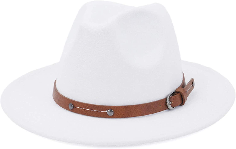 Lady British Fashion Wide Brim Simple Top Fedoras Hat Unisex Jazz hat with Belt Vintage Trilby Felt Hat